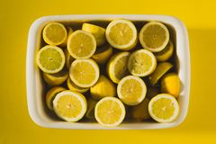 Box of yellow lemons Stock Photo