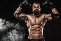 Boxare med tatueringen i boxninghandskar som firar prickfri seger Sportbegrepp som isoleras på svart bakgrund royaltyfria foton