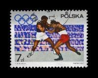 Boxare på den olympic cirkeln ägnade till 19th OS Mexico - staden, 1968, circa 1967, Royaltyfria Foton