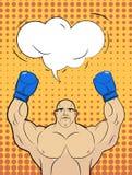 Boxare-stil popkonst med en bubbla över hans huvud Rais för stark man stock illustrationer