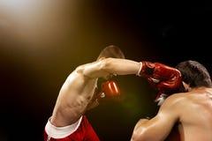 Boxareboxning för två professionell på svart bakgrund, fotografering för bildbyråer