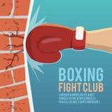 Boxarehandskar som slår affischen royaltyfri illustrationer