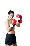 Boxarekvinna med den röda handsken Fotografering för Bildbyråer