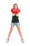 Boxarekvinna som korsar armarna Arkivbilder