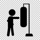 Boxaren slår boxarepäronet, sandsäck gears symbolen Arkivfoto