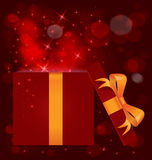 Boxas den ljusa gåvan för magi den öppna vektorn stock illustrationer