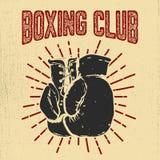 Boxas klubban Räcka utdragna boxninghandskar på grungebakgrund Desig stock illustrationer