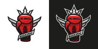 Boxas konung Logo för boxninghandske royaltyfri illustrationer