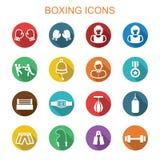 Boxas långa skuggasymboler stock illustrationer
