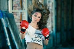 boxas lycklig leendekvinna Arkivbilder