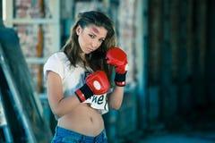 boxas lycklig leendekvinna Royaltyfria Foton