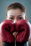 boxas lycklig leendekvinna Arkivfoto