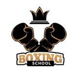 Boxas mallen för symbol för skolaklubbavektor av boxarearmen i askhandske royaltyfri illustrationer