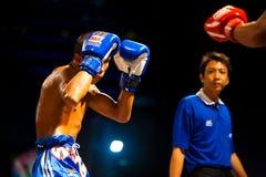 boxas muay thai domarestance för guard royaltyfri bild