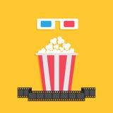 boxas pappers- röda blåa exponeringsglas 3D och stort popcorn film remsan Uppsättning för biofilmsymbol i plan designstil Gul bak Arkivfoton