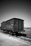 Boxcar on tracks, Birkenau Concentration Camp, Poland Stock Photo
