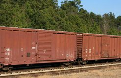 Boxcars. Railroad cars connected to a train Royalty Free Stock Image