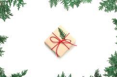 Boxe подарка рождества и ветвь ели на белой предпосылке Взгляд сверху Стоковое Изображение