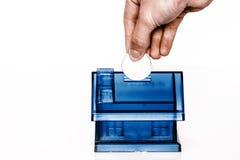 Boxe azul del dinero - casa Fotografía de archivo