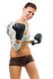 Boxe confiante intense de femme images stock