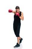 Boxe d'homme de sports dans les gants rouges Photos stock