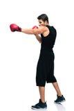 Boxe d'homme de sports dans les gants rouges Photographie stock
