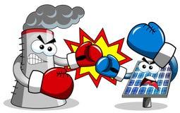 Boxe de combat de panneau photovoltaïque de tour de refroidissement illustration stock