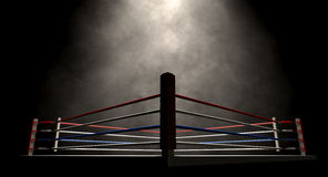 Boxe Ring Spotlit Dark Photos libres de droits
