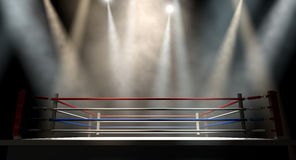 Boxe Ring Spotlit Dark Photos libres de droits