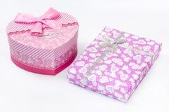 Boxe rosa del cuore con i contenitori di cubo Fotografia Stock