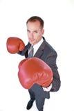 Boxe sérieuse d'homme d'affaires image libre de droits