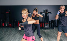 Boxe s'exerçante de personnes à un centre de fitness Photographie stock