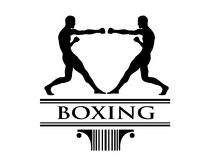 Boxe tournament clip art logo. Handmade illustration of boxers during a match on basic trophy logo or brand Royalty Free Stock Photos