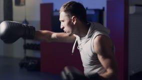 Boxeador brutal en los guantes de boxeo que hacen huelgas con la sombra cámara lenta interior, Escena de la luz corta almacen de metraje de vídeo