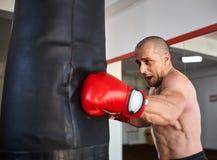 Boxeador con el bolso pesado Fotografía de archivo libre de regalías