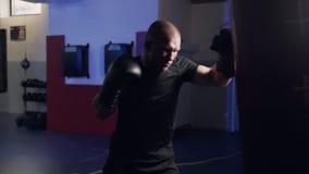 Boxeador con los guantes de boxeo que resuelve soplos en el saco de arena, cámara lenta Entrenamiento del combatiente en gimnasio almacen de video