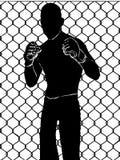 Boxeador con los guantes de boxeo sin el color negro, ejemplo que lucha de la cara libre illustration