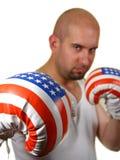 Boxeador con los guantes rojos Fotos de archivo libres de regalías