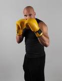 Boxeador con su protector para arriba fotografía de archivo libre de regalías
