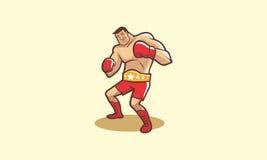 Boxeador de la historieta con su correa de campeón Imagen de archivo