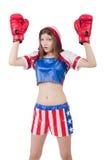 Boxeador de la mujer imagenes de archivo