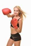 Boxeador de la mujer aislado Foto de archivo libre de regalías
