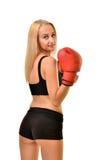 Boxeador de la mujer aislado Imagen de archivo libre de regalías