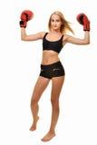 Boxeador de la mujer aislado Imagen de archivo