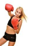 Boxeador de la mujer aislado Fotografía de archivo