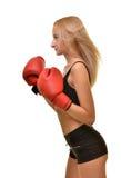 Boxeador de la mujer aislado Fotos de archivo