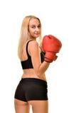 Boxeador de la mujer aislado Fotografía de archivo libre de regalías