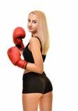 Boxeador de la mujer aislado Imágenes de archivo libres de regalías