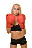 Boxeador de la mujer aislado Foto de archivo