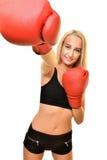 Boxeador de la mujer aislado Imagenes de archivo